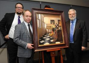 "Penn Gillette, Teller, and Tim Jenison with his exact repainting effort of Vermeer's ""The Music Lesson""."