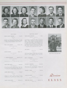 Brum Brumfiel's 1940 senior yearbook page.