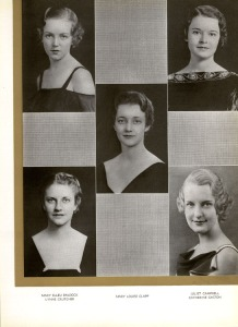 Mary Louise Clapp (center) campus beauty in 1934.