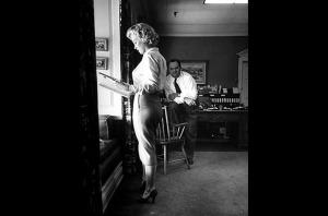 Marilyn Monroe reading a script.