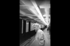 Monroe in the subway when she was taking acting classes in New York.