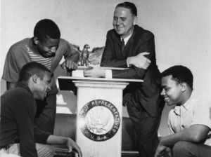 In the 1960s, Knoxville Mayor John J. Duncan was a leader in the drive for race equality. He is pictured when he was a U.S. representative with Austin High School students William Long, left, Clarence Crippen, and James Chesney in April 1968. (News Sentinel Archive)