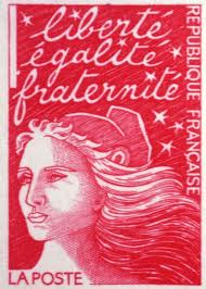 France's motto on its air-mail stamps.