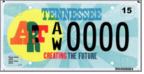 Tennessee's newest license plate ART: Creating the Future with 90 percent of the proceeds going to the Tennessee Arts Commission.