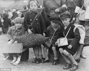 Frightened World War II evacuees waiting to see who will choose to give them shelter.