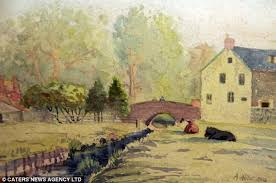 This pastoral scene, the opposite of the mayhem he created in real life, was supposedly painted by Adolph Hitler.