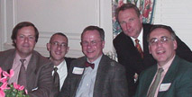 Bruce Downsbrough (center) with fellow 1971 graduates of prep school Montclair Academy at their 30th reunion in 2001.