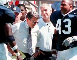 The late Penn State Coach Joe Paterno with his defensive coordinator Jerry Sandusky who was selected national assistant coach of the year in 1986 and 1999.