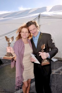 "After the Independent Spirit Awards, Dale Dickey and her costar John Hawkes show off their awards for best supporting actor and actress for ""Winter's Bone."""