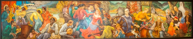 "Marion Greenwood's mural ""The History of Tennessee"" depicting the musical heritage and folk traditions of West, Middle, and East Tennessee."