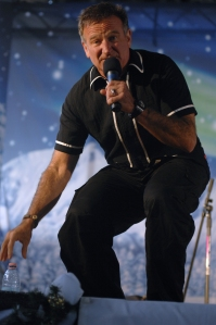 Williams entertaining the troops at Aviano Air Base in Italy during a USO holiday show on December 22, 2007.