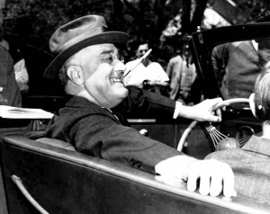 The happiest American president ever--and I say the best--Franklin Roosevelt.