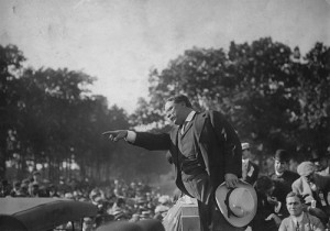 """Theodore Roosevelt giving """"them"""" hell."""