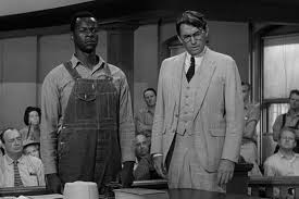 Brock Peters as Tom Robinson and Gregory Peck as Atticus Finch in To Kill a Mockingbird.