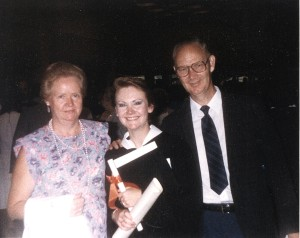 My graduation in 1987 with my parents.