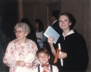 Graduation day with my grandmother and my son Justin