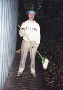 One of my favorite photos of my husband at our first home doing yard work!