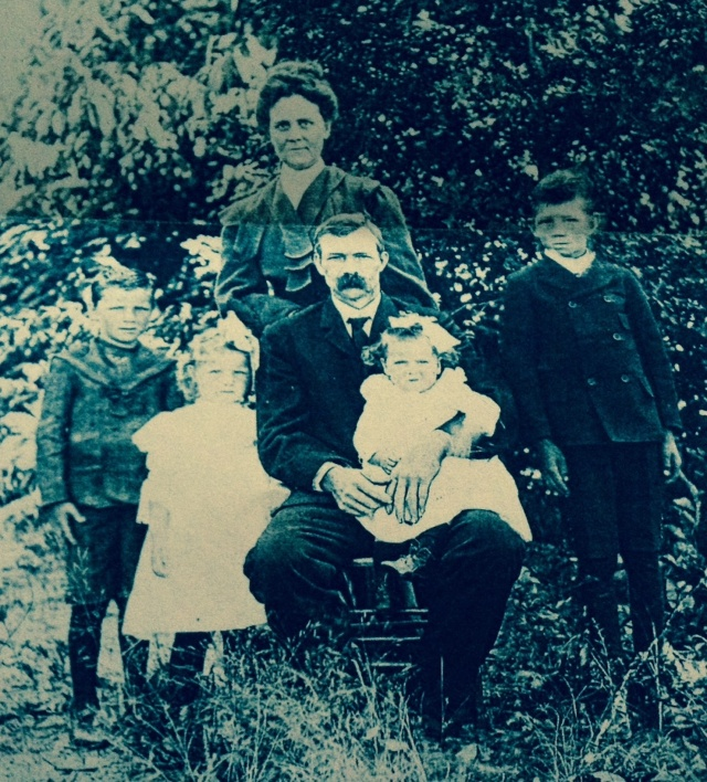Cordelia and John Montgomery with their children Robert 5, Darcas 3, Eutaw 1, and Adrian 9.
