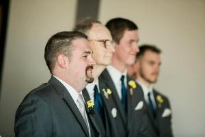The groom Justin; his best man Daddy; and the groomsmen Carter, Mark, and Corey wait for the bride.