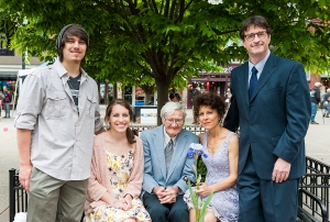 Laura's son James and her daughter Victoria, Laura and Tom at the wedding.