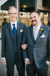 Daddy acting as best man on March 5, 2016, at my son Justin's wedding.