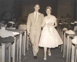 Daddy and Mama on their wedding day, June 15, 1956. They will have been married 60 years on June 15, 2016.