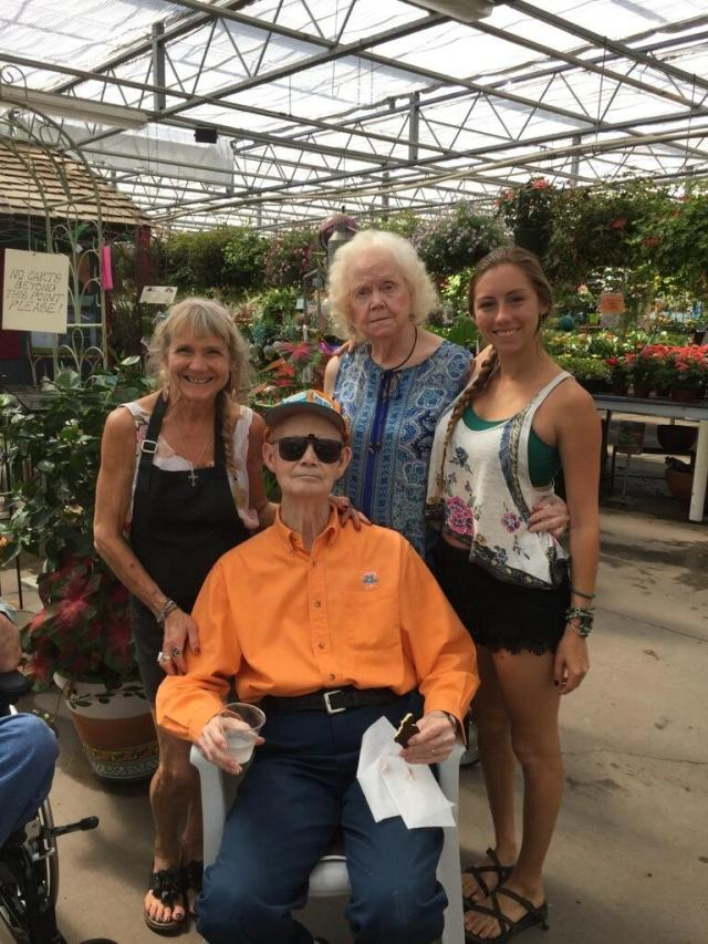 Here are Daddy and Mama visiting my sister Lisa and niece Abby at Stanley's Greenhouse a day and a half before his fall.