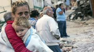 An Italian child and his mother in Amatrice, Italy.