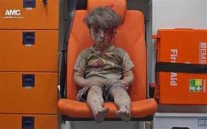 The 5-year-old Syrian boy Omran Daqneesh who was found in the bombed-out rubble of his former home in Aleppo, Syria.