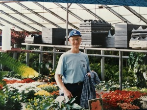 Daddy at his last job at Stanley's Greenhouse, early 2000s.