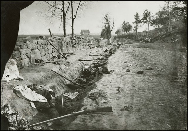 The Confederate dead at Marye's Heights, Fredericksburg, Virginia, 1863.