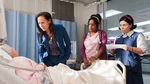 "The three gifted actresses who star in ""Getting On"": Laurie Metcalf as Dr. Jenna James, Niecy Nash as Nurse DiDi, and Alex Berstein as Nurse Dawn."