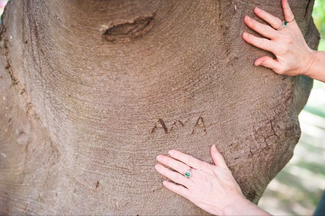 Anna hands on tree at Berea College 9-2017